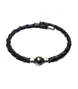 Bracelet en cuir argent acier et perle eau douce véritable