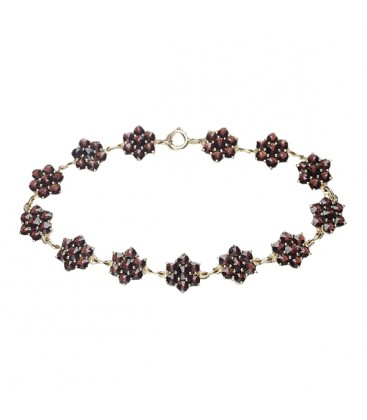 Bracelet grenat fleurs